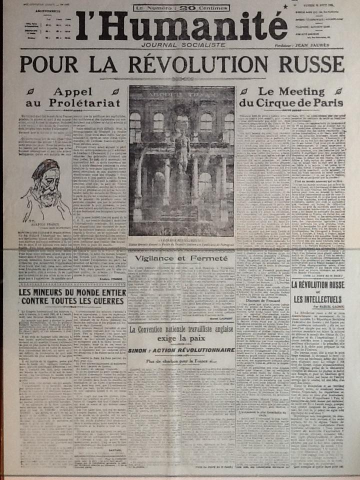 Юманите-сообщение о революции в России_1917